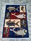 S499  Elegant Handmade Knotted Afghan tribal rug Fish pictorial design 122×82 cm