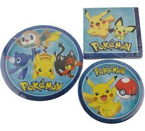 Pokemon Pikachu Birthday Party Supplies 16 Plates Napkins