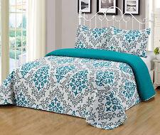 3Pc Reversible Quilt Set Bedspread Bedding Coverlet Set Floral King