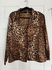 Fredericks of Hollywood Silky Cheetah Animal Print Pajama Top Shirt XL