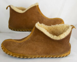 Vintage LL Bean Brown Suede Shearling Lined Wicked Good Bootie Slipper Sz 7 W8.5