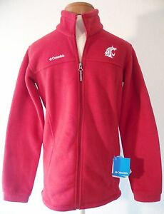 NWT Columbia WSU Cougars Youth Boys Flanker Fleece Jacket L Crimson MSRP$40