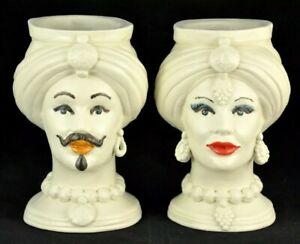 TRADIZIONALE COPPIA TESTE Bianco Satinato in ceramica di Caltagirone