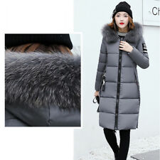 Winter Women Lady Long Down Cotton Parka Fur Collar Hooded Coat Quilted Jacket.