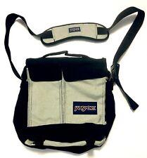 Jansport Messenger large Bag Black Gray Laptop Strap 5 Compartments EUC