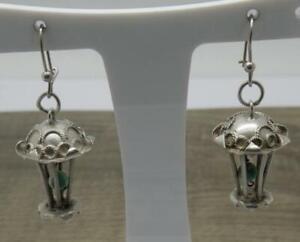 Beautiful Vintage Sterling Silver Chinese Lantern Chandelier Drop Earrings