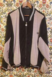 Vintage Givenchy Velour Track Jacket Large Shadow Grey Black Reversible Satin