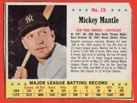 1963 Jello #15 Mickey Mantle VG-VGEX+ New York Yankees $250 HBV FREE SHIPPING