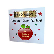 Personalised Teaching Assistant Apple Thank You Greeting Card End Of Term Gift