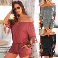 Women Tassel Off Shoulder Playsuit Loose Shorts Mini Dress Summer Beach Jumpsuit
