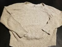 Free People Women's Crop Cream Color Loosely Knit Sweater t Size L~ Cotton