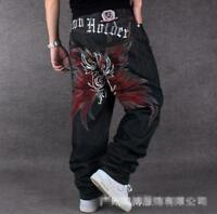 Men's Skate Baggy Loose embroidery Rap Hip Hop Jeans Denim Trousers Pants 53JIH