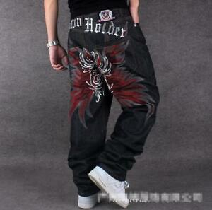 Men's Skate Baggy Loose embroidery Rap Hip Hop Jeans Denim Trousers Pants 53JIH
