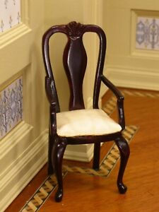 Bespaq Chippendale Arm Chair Light Upholstery Dark Wood Dollhouse Miniature