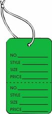 Garment Tag Small Dk Green Color With String 1000 Tags Pack 125 X 1875