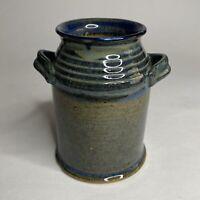 Handmade Art Pottery Vase Stoneware Handled Milk Jug Style Blue Glaze Signed