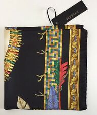NWT VERSACE Foulard Large Square 100% Silk Scarf  Italy Gold Black Red