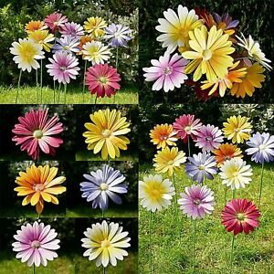 Set Of 6 Multi Colour Daisy Flower Garden Stake Ornament Outdoor Decoration