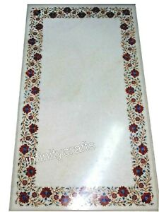 24 x 48 Inches Marble Dining Table Top Carnelian Stone Inlaid Restaurant Table