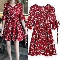 New Women Ladies Casual Shift Dress Short Sleeve AU Size 14 16 18 20 22 24 #3381