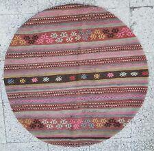 Round Oushak Kilim Rug Flat Woven Pink Turkish Handwoven Wool Entry Kelim 3'3''