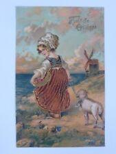 """AK Litho Prägekarte Mädchen Lamm """"Fröhliche Ostern"""" (Nr. 1603)"""