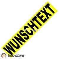 Feuerwehr Reflex Rückenschild 380 x 80 mm, mit Wunschtext, einzeilig, gelb, neu