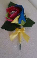 Wedding flowers 10 x Rainbow foam rose Single Buttonhole Groom best man guest