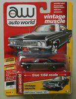 1966 Tuxedo Black Chevy Impala SS AUTO WORLD DIE-CAST 1:64 CAR w BOX