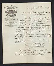"""ERVY (10) SCIERIE TOURNERIE / MANCHES D'OUTILS """"RUINET & JOLLY"""" en 1887"""
