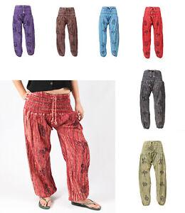 Stonewashed High Crotch Harem Trousers Hippie Pants