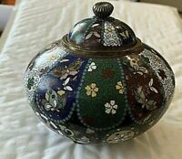 "Antique/Vintage Japanese Cloisonne  Lidded Jar. 3 feet. 4.5""d,3.5""h 12 panels #2"