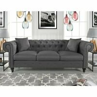 Vintage Fabric Sofa Scroll Arm Tufted Button Chesterfield Couch, Light Grey
