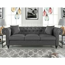 Chesterfield Sofa Deep Tufted Backrest Classic Couch with 2 Pillows, Pewter Grey