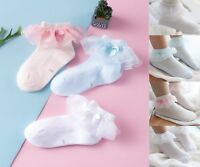 New Baby Girls Sheer Frilly Lace Cotton Socks Christening Wedding 2-8 Years