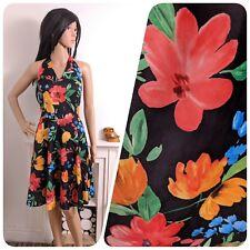 Vintage 80s Black Floral Strappy Halter Neck Skater Sun Dress 10 38