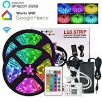 5M 10M Smart WIFI LED Strip Light Kit 5050 3528 SMD RGB APP Controller 12V Power