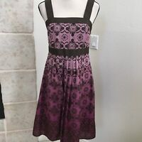women's Apt 9 Empire Waist Dress size 8 Geometric Floral Purple Lined