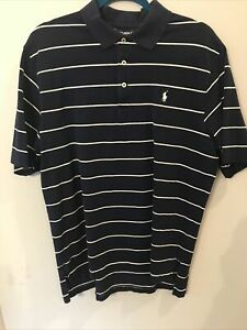 Ralph Lauren Polo Golf Short Sleeve Blue White Striped Pony Shirt Men's L *EUC*