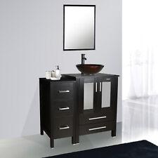 "Black Bathroom Vanity Small Cabinet 36"" Modern W/Vessel Glass Sink Mirror Set"