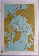 School Wall Map North Polar Region North Pole 64x92 Peary VINTAGE Wall MAP ~ 1957