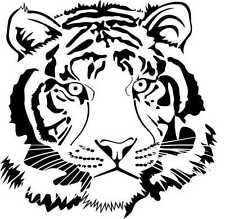 FACE OF A TIGER FRONT ON CAR DECAL STICKER