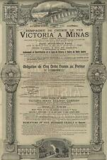 BRAZIL VICTORIA TO MINAS RAILWAY BOND stock certificate 1911 WITH COUPONS