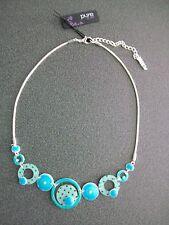 COLLIER fantaisie turquoise bijou PURE BY NOA émaillé et  plexi découpé au laser