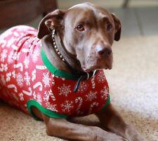 Pet Costume Pajamas Christmas Union Suit Red White Candy Cane Dog Clothing PJs
