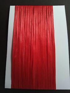 5M 3mm Thin Red Satin Ribbon Card Making Scrapbooking Home Decor Art craft