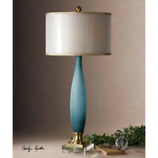 Etched Frosted Cobalt Blue Glass Table Lamp Beach Style Decor