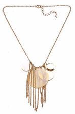 Etno Style Halskette Gold Kette & Perlmutt Anhänger & Metall Quasten (zx50)