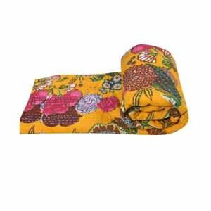 Kantha Quilt Fruit Print Indian Cotton Bed Cover Handmade Bedspread Blanket