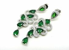 Butterfly Emerald Drop/Dangle Pear Costume Earrings
